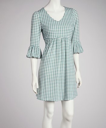 Green Houndstooth Scoop Neck Dress