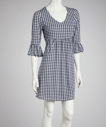 Navy Houndstooth Bell-Sleeve Dress - Women