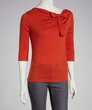 Orange Three-Quarter Sleeve Top - Women