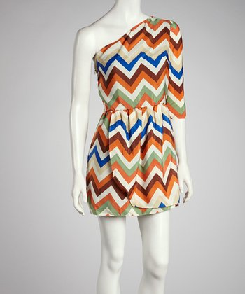 Orange & Cream Zigzag Asymmetrical Dress - Women