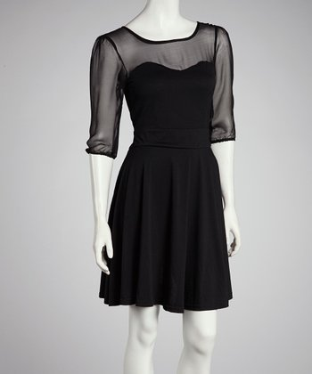 Black Sheer-Sleeve Dress
