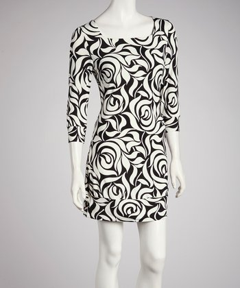 Black & White Rose Dress - Women