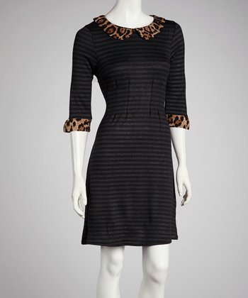 Silver & Black Leopard Three-Quarter Sleeve Dress