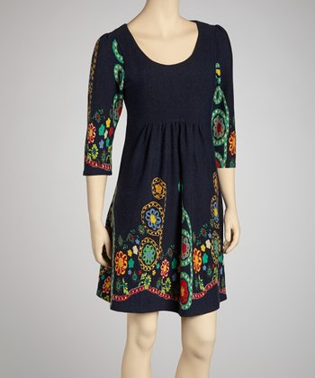 Navy Floral Three-Quarter Sleeve Dress