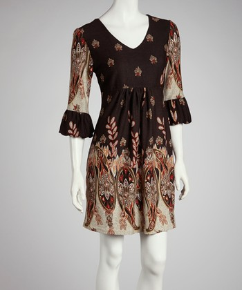 Brown Paisley Ruffle Three-Quarter Sleeve Dress - Women