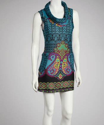 Teal Paisley Drape Neck Dress