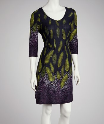 Purple & Green Leaf Three-Quarter Sleeve Dress