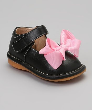 Black & Pink Bow Squeaker Mary Jane