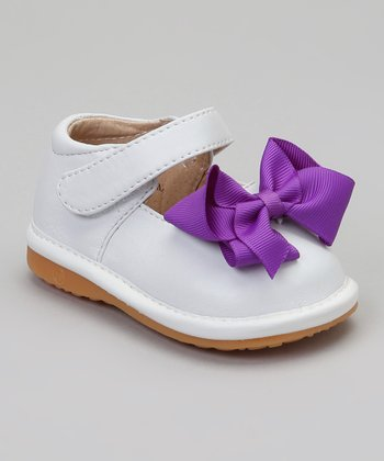White & Purple Bow Squeaker Mary Jane
