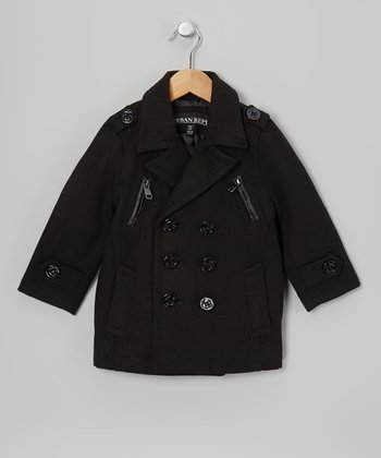 Black Zipper Peacoat - Toddler & Boys