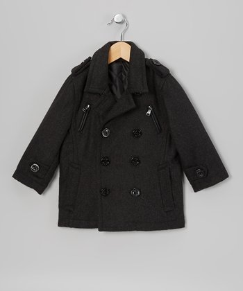 Charcoal Zipper Peacoat - Toddler & Boys