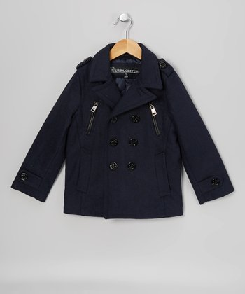 Navy Zipper Peacoat - Boys