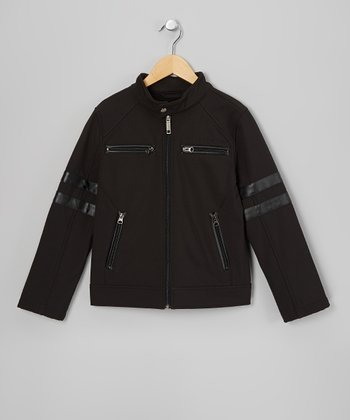 Black Stripe Moto Jacket - Toddler & Boys
