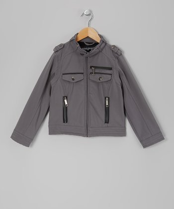 Gray Moto Jacket - Boys