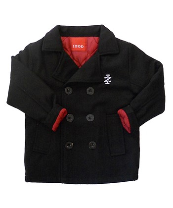 Black Double-Breasted Peacoat - Toddler & Boys
