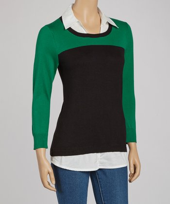 Black & Green Colorblock Collared Three-Quarter Sleeve Sweater