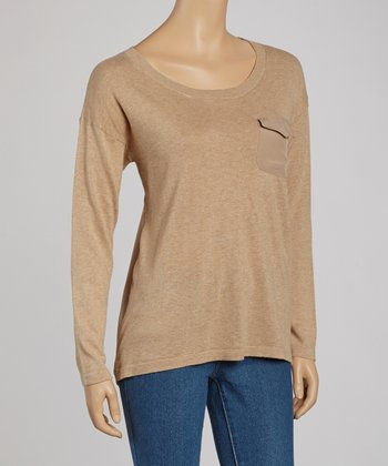 Tan Heather Knit Front & Woven Back Sweater
