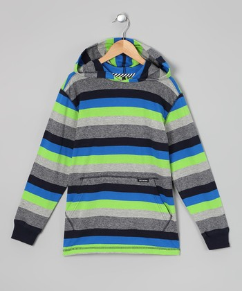 Lime & Electric Blue Stripe Hooded Tee