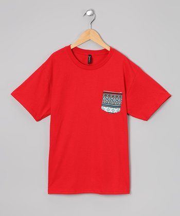 Red & Black Tribal Pocket Tee