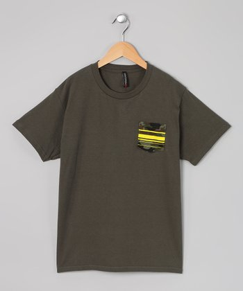 Green & Yellow Camo Pocket Tee