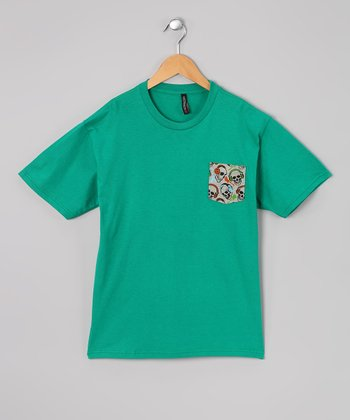 Kelly Green & Gray Skull Pocket Tee