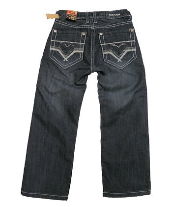 Indigo Chevron Straight-Leg Jeans -  Boys
