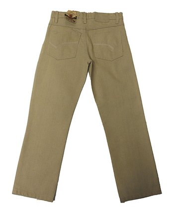 Khaki Baked Straight-Leg Jeans - Toddler & Boys