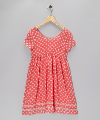 Coral Polka Dot Dress - Girls