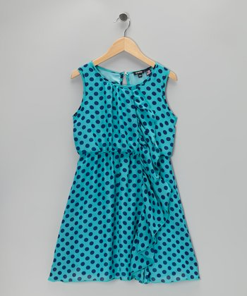 Turquoise Ruffle Polka Dot Dress - Girls