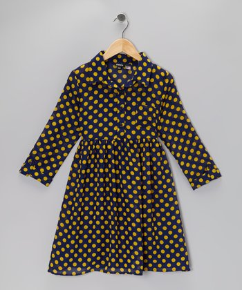 Navy Polka Dot Button Dress - Girls