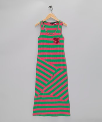 Fuchsia & Green Stripe Maxi Dress - Girls