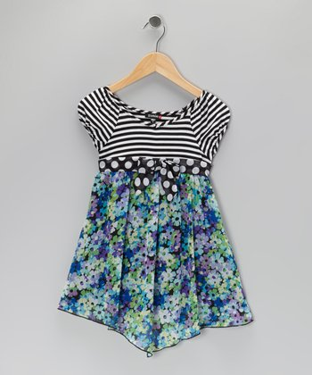 Blue Stripe Floral Dress - Girls