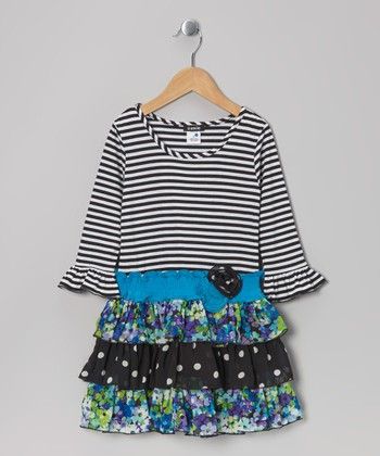 Blue & Black Stripe Floral Tiered Ruffle Dress - Girls