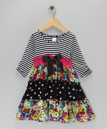 Black Stripe Floral Tiered Dress - Girls