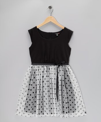 Black & Cream Polka Dot Cap-Sleeve Dress