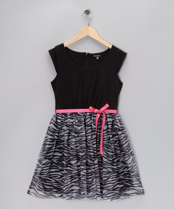 Black Zebra Cap-Sleeve Dress - Girls