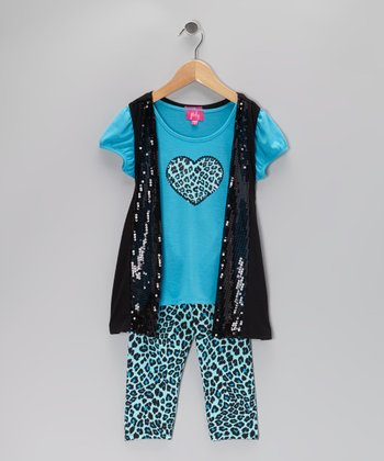 Turquoise Layered Tunic & Leopard Leggings - Girls