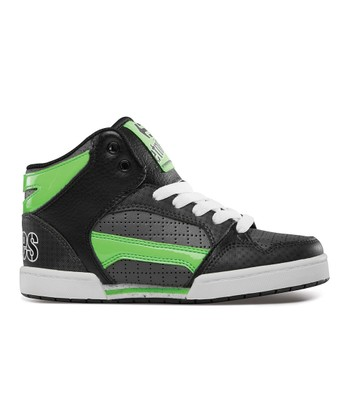 Black & Green Uptown Hi-Top Sneaker