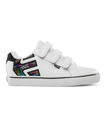 White & Black Fader Triple-Strap Sneaker