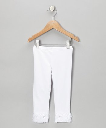 White Ruffle Bow Leggings - Infant, Toddler & Girls