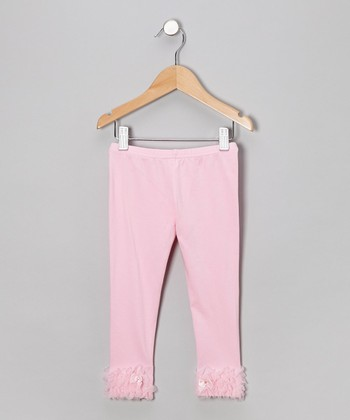 Petal Pink Ruffle Bow Leggings - Infant, Toddler & Girls