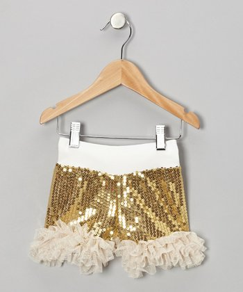 Gold Sequin Frilly Shorts - Infant, Toddler & Girls