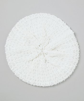 White Sequin Beret