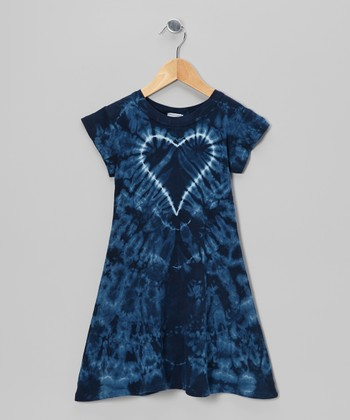Blue Groovy Denim Heart Tie-Dye A-Line Dress - Toddler & Girls