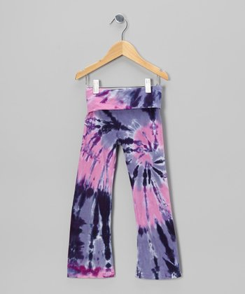 Pink & Purple Cyclone Tie-Dye Pants - Toddler & Girls