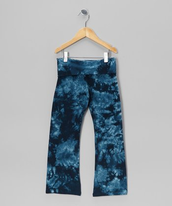 Blue Groovy Denim Heart Tie-Dye Pants - Toddler & Girls