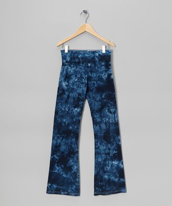 Blue Groovy Denim Heart Tie-Dye Pants - Women