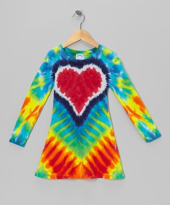 Red Rainbow Heart Tie-Dye A-Line Dress - Toddler & Girls