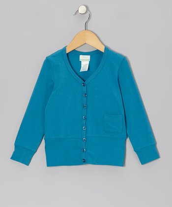 Teal Organic Cardigan - Infant, Toddler & Girls