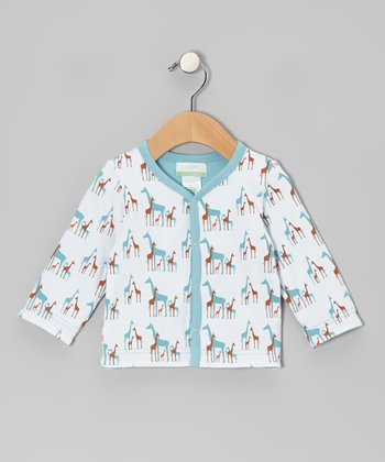 Sky Blue Giraffe Dual-Layer Organic Cardigan - Infant